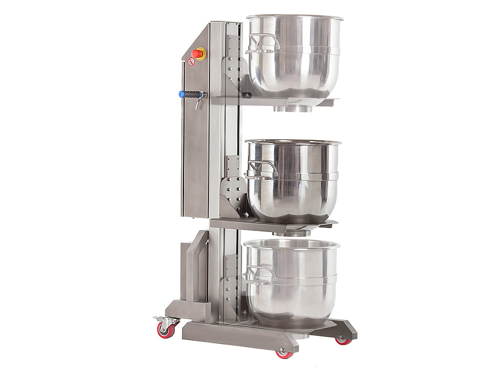 Bowl lifter for planetary mixers - bowl in 3 positions