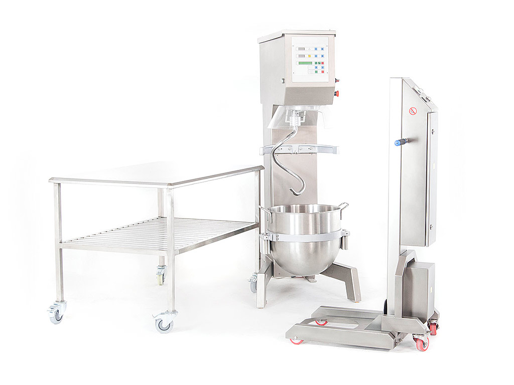 Bowl lifter HUB-1 with planetary mixer in action