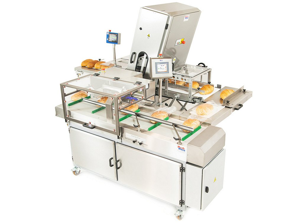 Bread slicing and packaging line side view 2