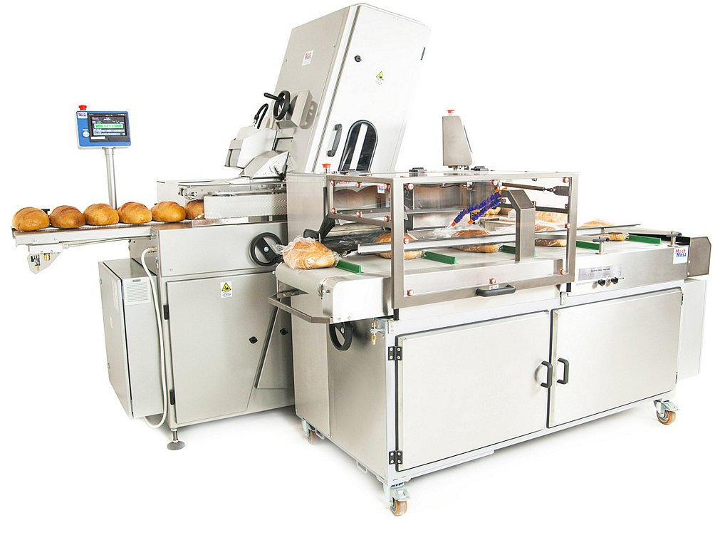 Bread slicing and packaging line side view