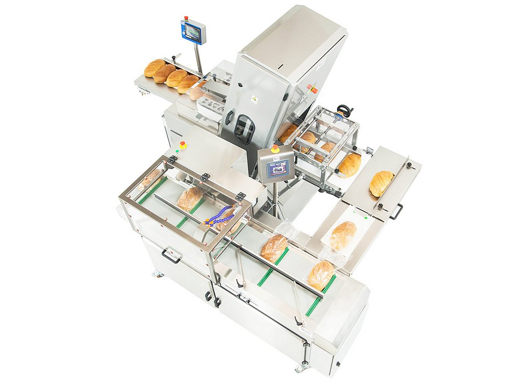 Bread slicing and packaging line top view