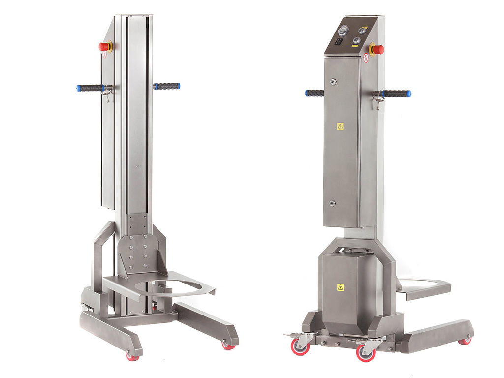 HUB-1 mobile bowl lifter for planetary mixers - front and back