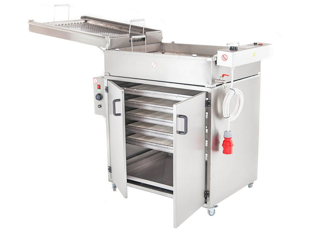 Doughnut fryer with a proofer set